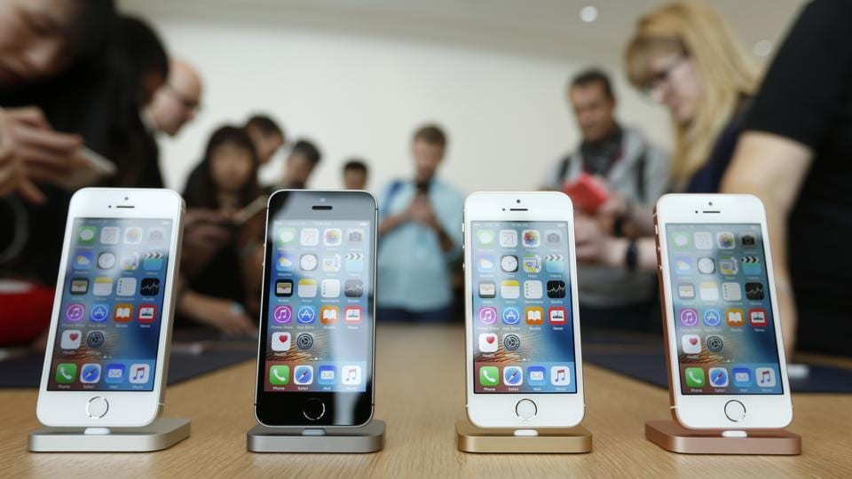 The new iPhone SE is seen on display during an event at the Apple headquarters in Cupertino, California.