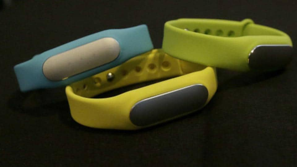 Xiaomi Mi Bands are displayed at a presentation in San Francisco, Thursday, Feb. 12, 2015.