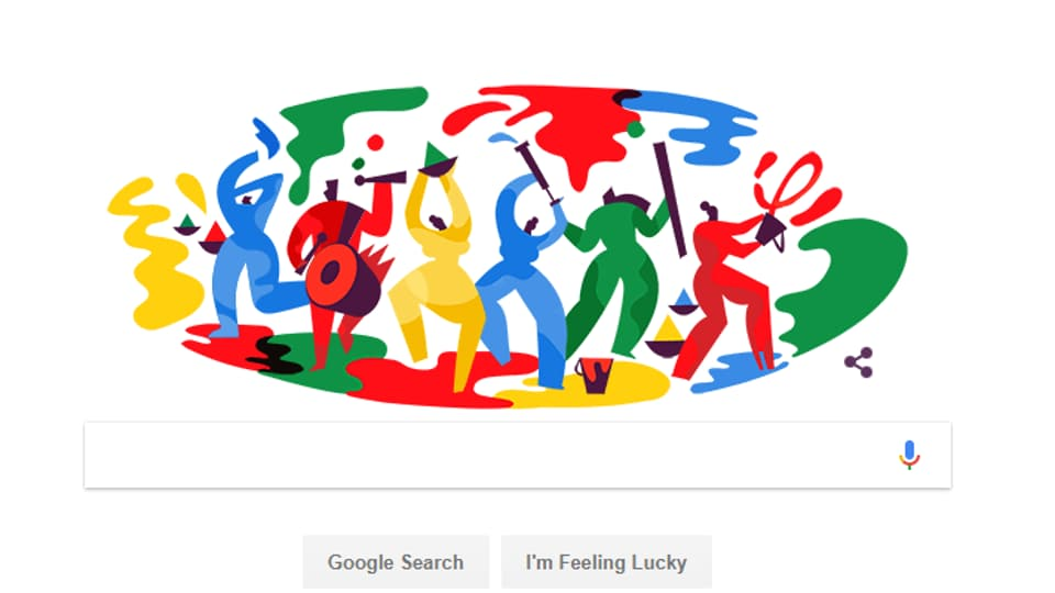 The Google Doodle marked the festival of Holi.
