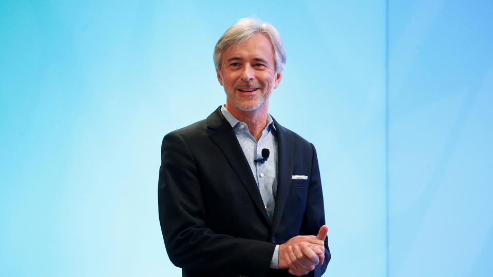 John Krafcik, CEO of Waymo, speaks during the North American International Auto Show in Detroit.