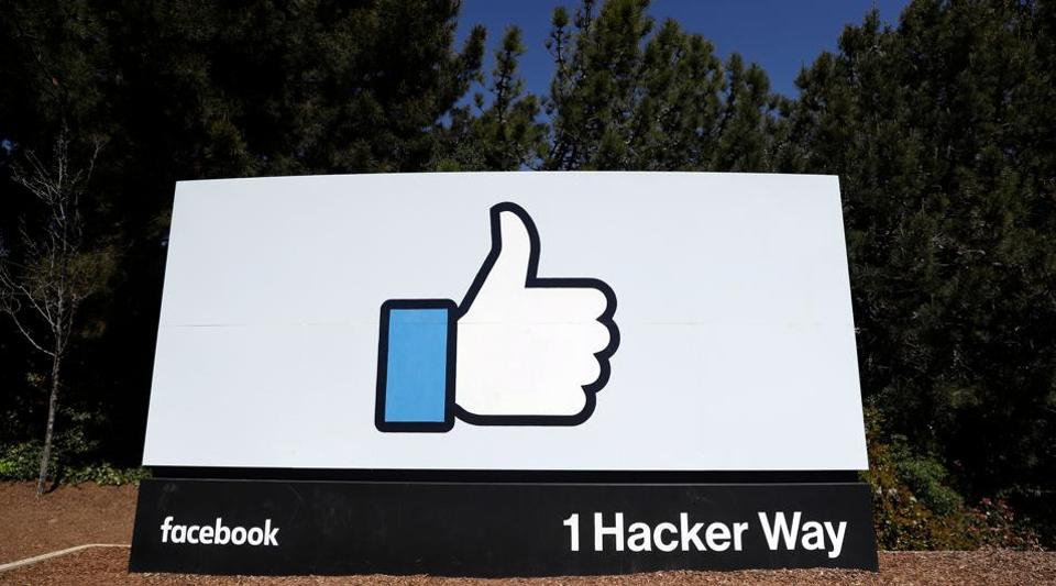 Facebook logo at the company's headquarters in Menlo Park, California.