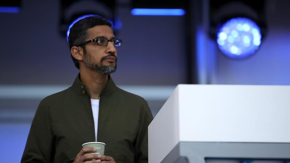 Google CEO Sundar Pichai delivers the keynote address at the I/O 2018 Conference at Shoreline Amphitheater on May 8.