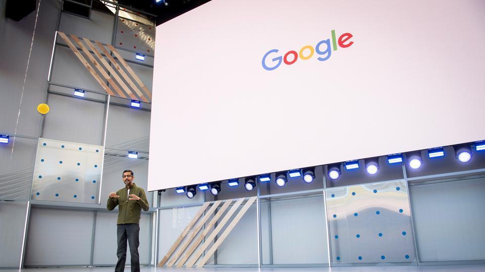 Google CEOSundar Pichai addresses the keynote at Google I/O 2018.