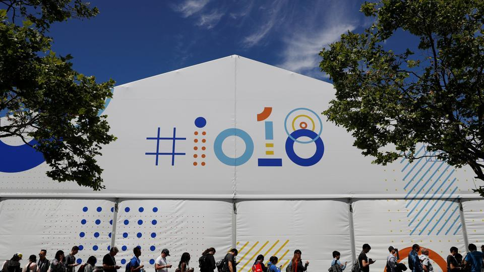 Attendees wait in line to attend a session during the annual Google I/O developers conference in Mountain View, California.