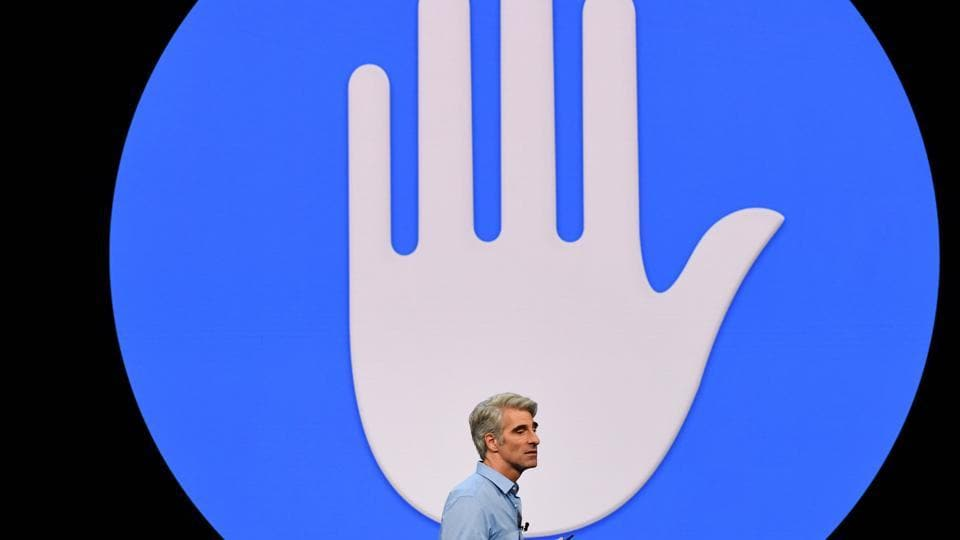 Craig Federighi, senior vice president of software engineering at Apple Inc., speaks during the Apple Worldwide Developers Conference (WWDC).