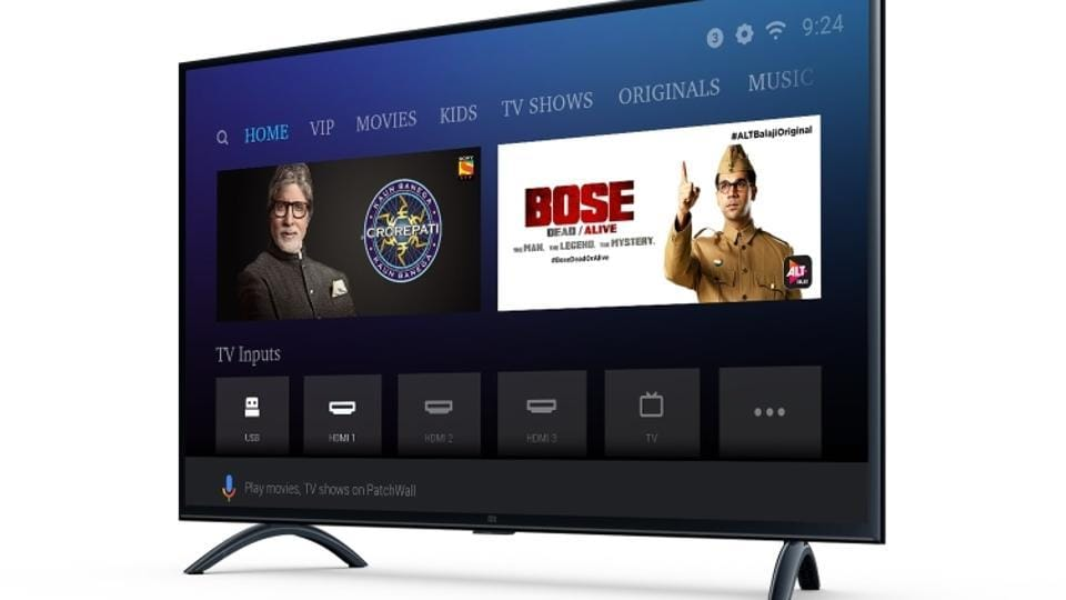 Xiaomi Mi LED TV 4A PRO (49) features 20W stereo speakers with DTS-HD surround sound, PatchWall based on Android 8.1 Oreo, 64-bit Amlogic quad-core chipset with Mali-450 GPU, 2GB RAM + 8GB storage, WiFi 802.11 b/g/n, and Bluetooth 4.2.