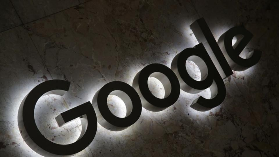 A Google logo is displayed at the entrance to the internet based company's offices in Toronto, Ontario, Canada September 9, 2018.