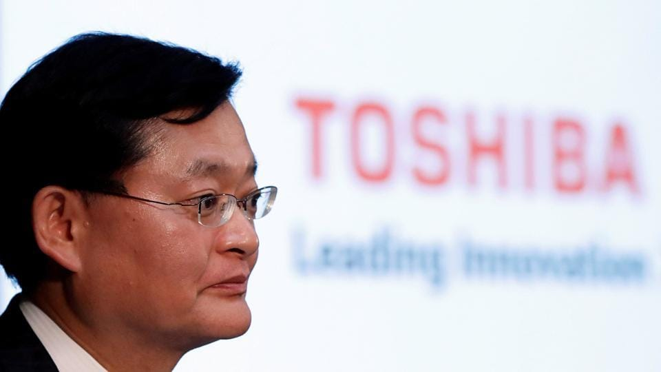 FILE PHOTO: Toshiba Corp's CEO Nobuaki Kurumatani attends a news conference at the company's headquarters in Tokyo, Japan May 15, 2018. REUTERS/Issei Kato /File Photo