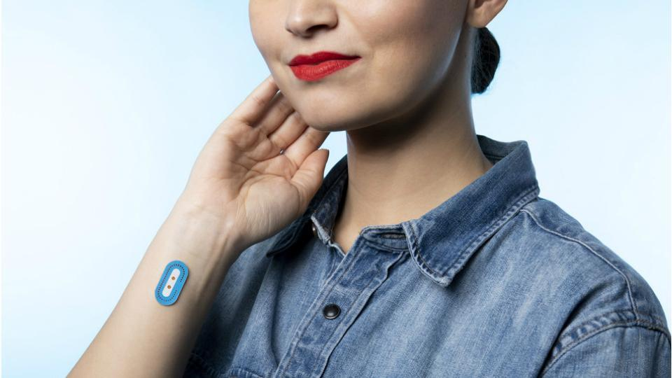 A prototype of L'Oreal's wearable skin sensor which can measure pH levels.