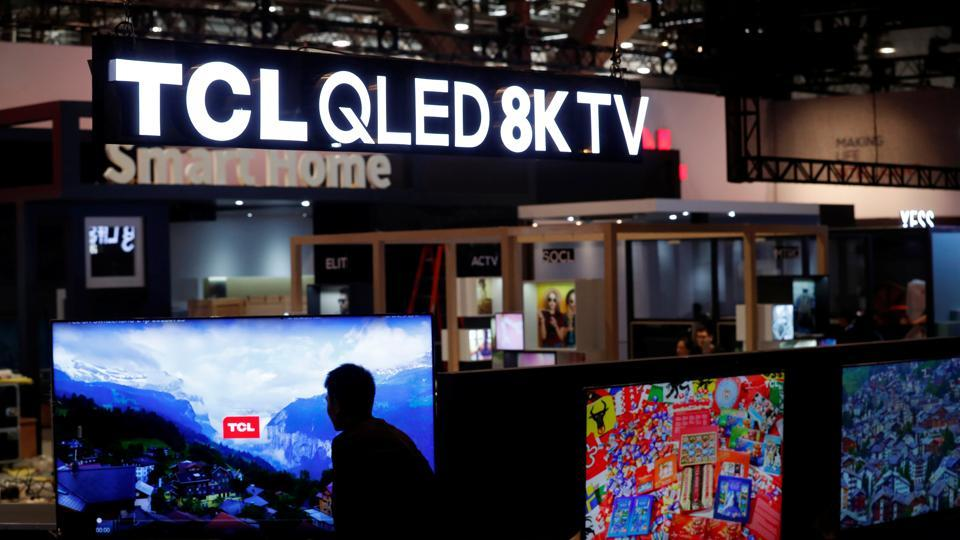 A display of QLED 8K televisions is shown at the TCL booth at the international tech show in Las Vegas.
