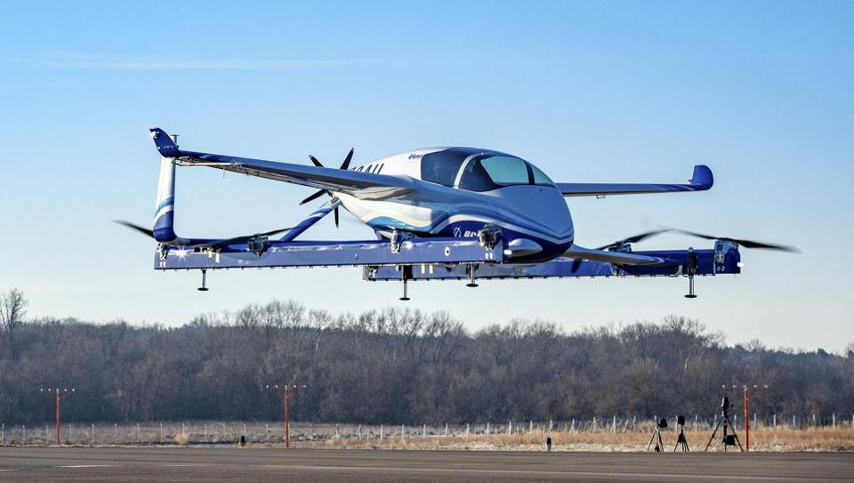 A prototype of its autonomous passenger air vehicle completed a controlled takeoff, hover and landing during the test conducted in Manassas, Virginia, the maker of military and commercial jets said on Wednesday.