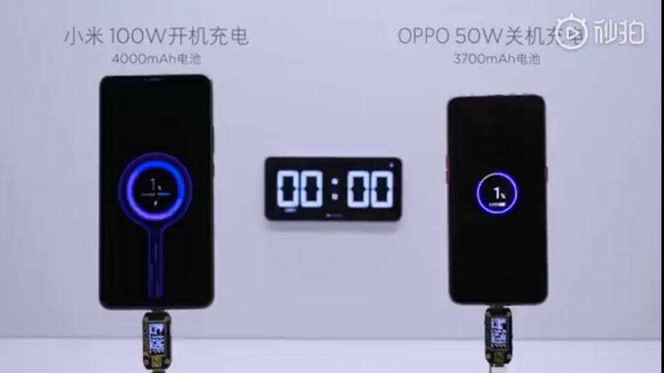 Xiaomi Super Charge Turbo against Oppo SuperVOOC charge.