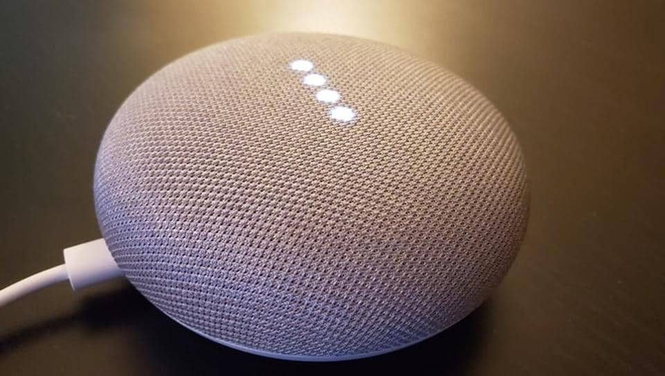 Google Home smart speakers, which respond to consumer's voice commands to control devices in the home or to answer questions out loud about topics including the weather, news or local services, in shown in San Francisco,