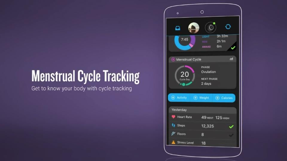 Menstrual Cycle Tracking on Garmin Connect app.