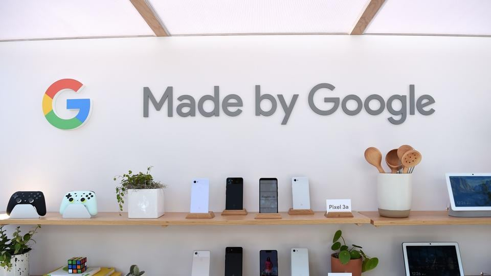 Google products, including the new Pixel 3A phone, are displayed during the Google I/O conference at Shoreline Amphitheatre in Mountain View, California on May 7, 2019.
