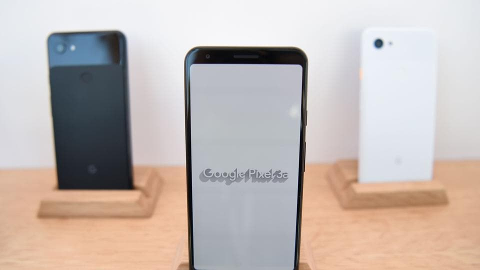 New Google Pixel 3a phones are displayed during the Google I/O conference at Shoreline Amphitheatre in Mountain View, California on May 7, 2019.
