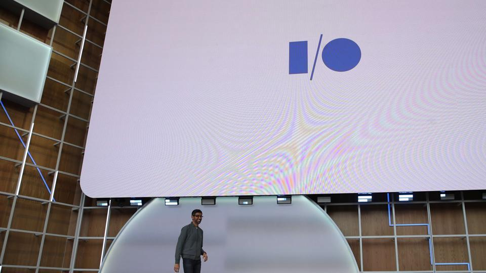 Google CEO Sundar Pichai delivers the keynote address at the 2019 Google I/O conference at Shoreline Amphitheatre on May 07, 2019 in Mountain View, California. The annual Google I/O Conference runs through May 8.