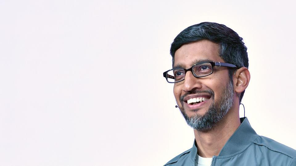 Google CEO Sundar Pichai speaks during the Google I/O keynote session at Shoreline Amphitheatre in Mountain View, California on May 7, 2019.