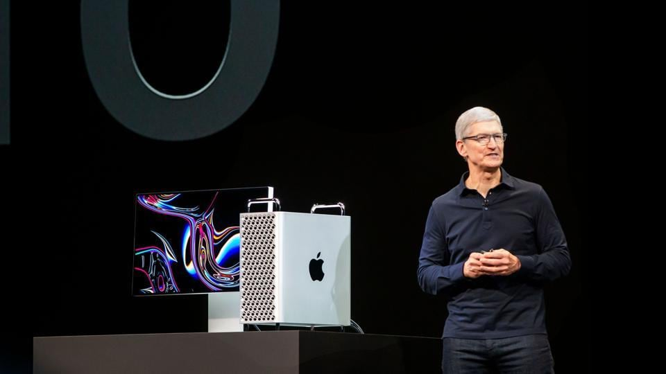 Apple CEO Tim Cook presents the new Mac Pro computer during Apple's Worldwide Developer Conference (WWDC) in San Jose, California on June 3, 2019.