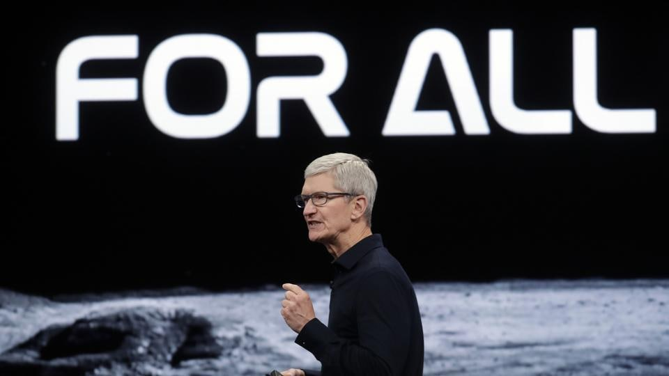 Apple CEO Tim Cook speaks at the Apple Worldwide Developers Conference in San Jose, Calif., Monday, June 3, 2019.