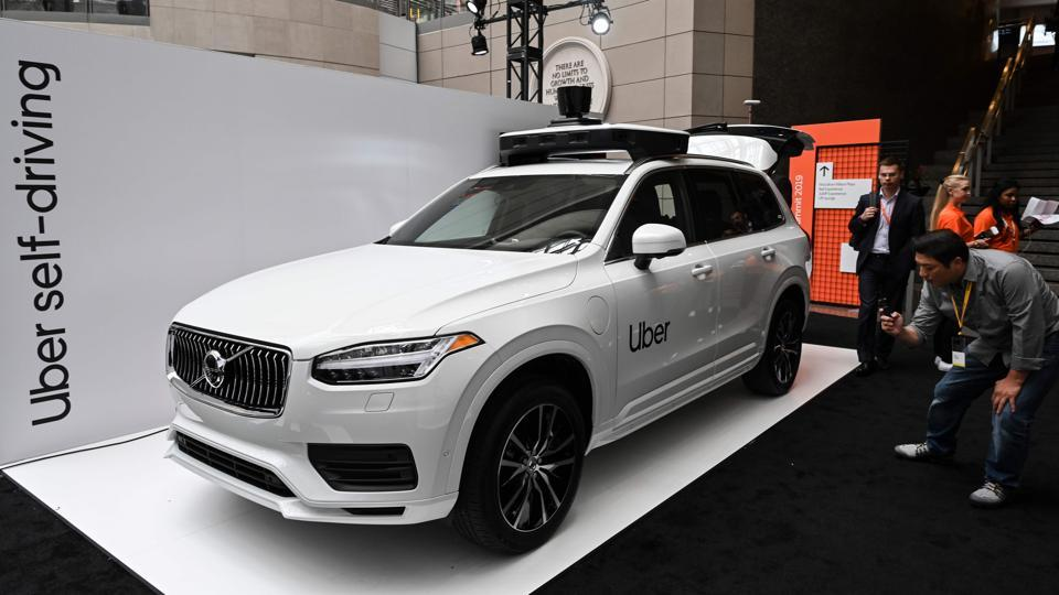 An Uber self-driving Volvo is on exhibit at the Uber Elevate Summit 2019 in Washington, DC June 12, 2019. - Uber unveiled its newest self-driving vehicle produced by Volvo Cars. The Volvo XC90 prototype will be