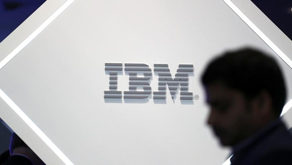 A man stands near an IBM logo at the Mobile World Congress in Barcelona, Spain, February 25, 2019.
