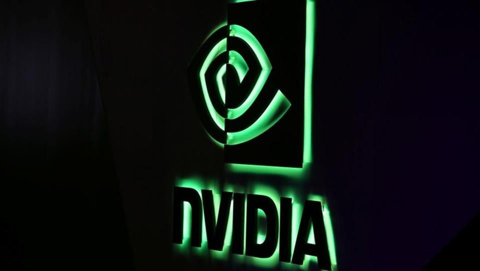 A NVIDIA logo is shown at SIGGRAPH 2017 in Los Angeles, California, U.S. July 31, 2017.