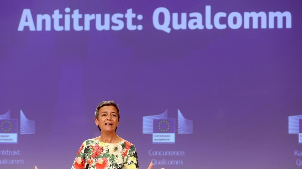 Commissioner Margrethe Vestager, in charge of competition policy, gives a press conference focused on US chipmaker Qualcomm on July 18, 2019 at the European Commission in Brussels. - The EU hit US chipmaking giant Qualcomm with an antitrust fine of 242 million euros ($271 billion) on July 18, 2019, in another blow against a tech titan that is fighting competition battles in Asia and the US.
