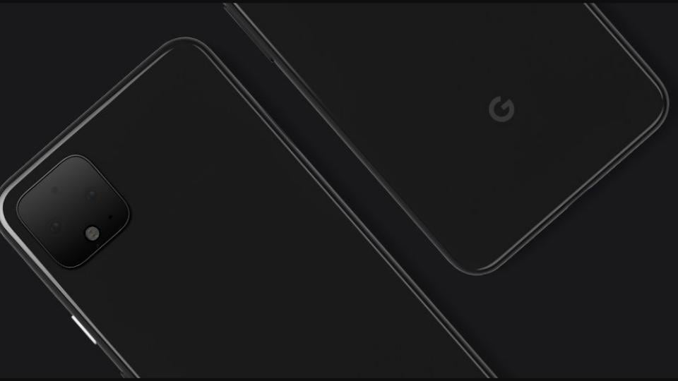 Google Pixel 4 with square shaped rear cameras.