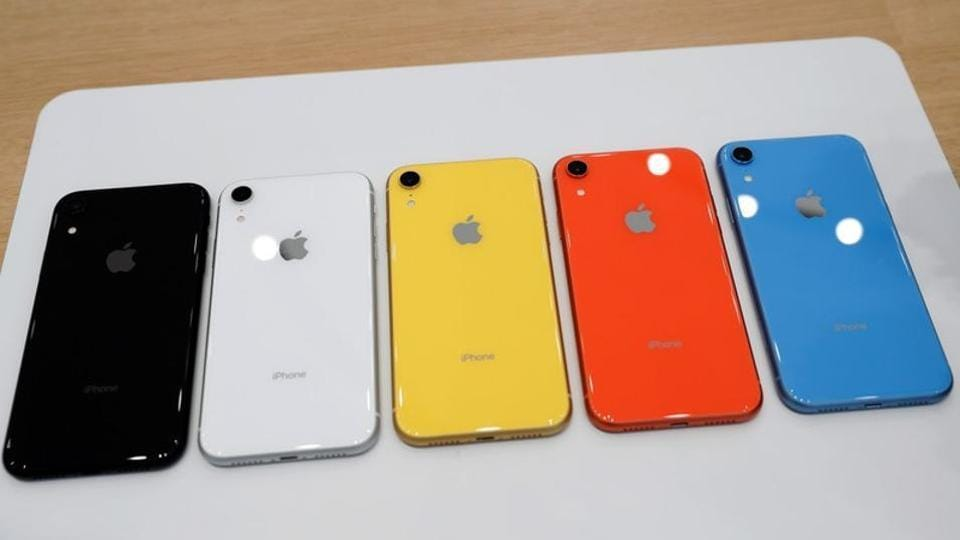 The various colors of newly released Apple iPhone XR are seen following the product launch event at the Steve Jobs Theater in Cupertino, California, U.S. September 12, 2018.