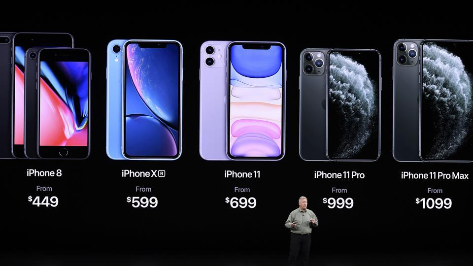 Phil Schiller, senior vice president of worldwide marketing at Apple Inc., speaks about iPhones during an event at the Steve Jobs Theater in Cupertino, California, U.S., on Tuesday, Sept. 10, 2019. Apple unveiled the iPhone 11 that will replace the XR and start at $699.