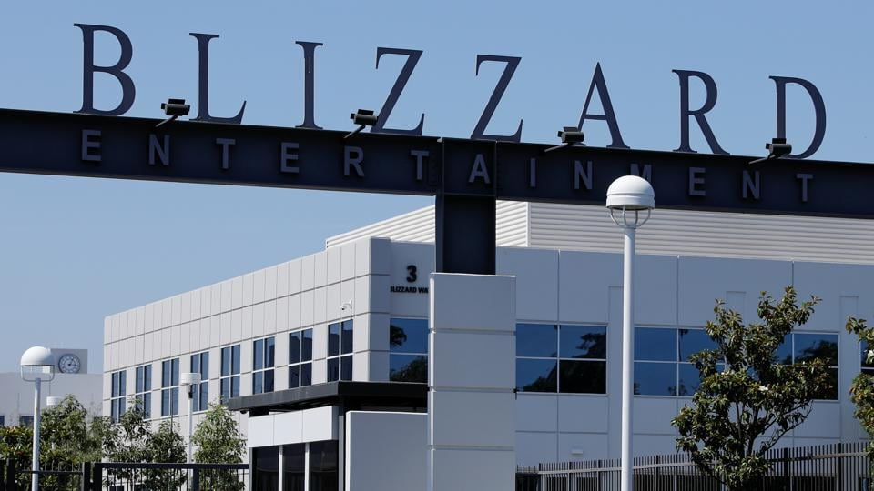 The entrance to the Activision Blizzard Inc. campus is shown in Irvine, California, US