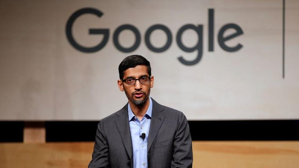 Google CEO Sundar Pichai speaks during signing ceremony committing Google to help expand information technology education at El Centro College in Dallas, Texas.