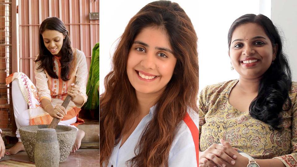 From left: Sambar Stories owner Sneha Sirivara, Happy Milk owner Mehal Kejriwal and Masalabox owner Harsha Thachery.