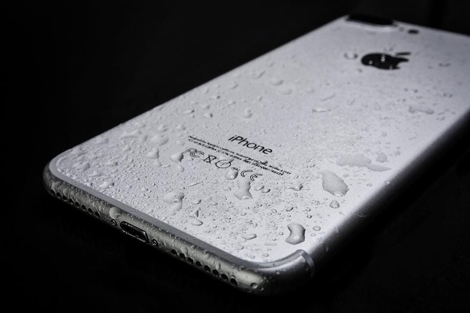 Water droplets on an iPhone.