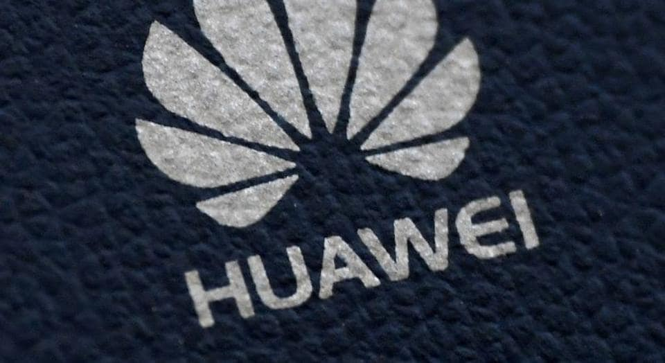 The Huawei logo is seen on a communications device in London, Britain, January 28, 2020.
