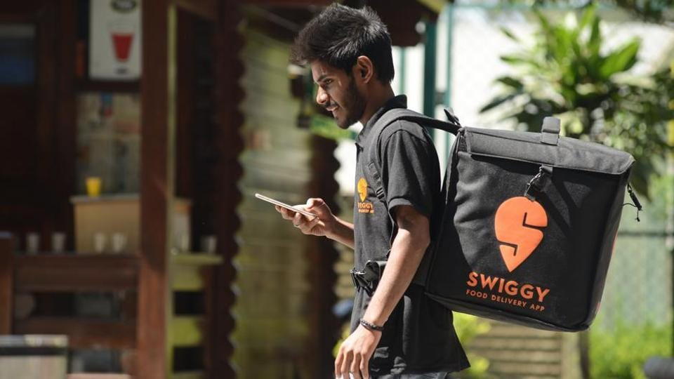 SWIGGY food delivery app, guy on delivery.