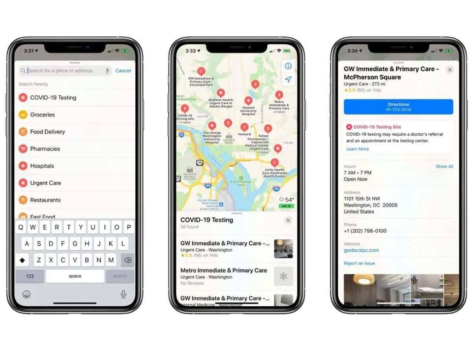Apple  Maps search options have been customised for the pandemic to include grocery stores, food delivery, hospitals, urgent care facilities and pharmacies.