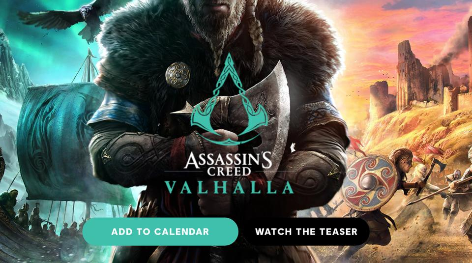 The image shows a Norse-inspired setting for the Valhalla title with a bearded viking warrior standing in the middle holding an axe, indicating it to be one of the combat tools in the game.