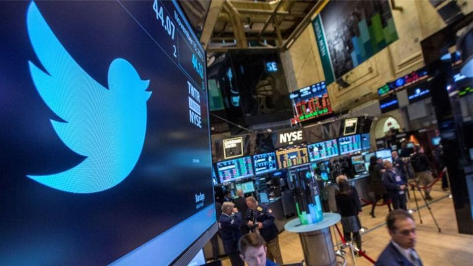 The Twitter symbol is displayed at the post where the stock is traded on the floor of the New York Stock Exchange.
