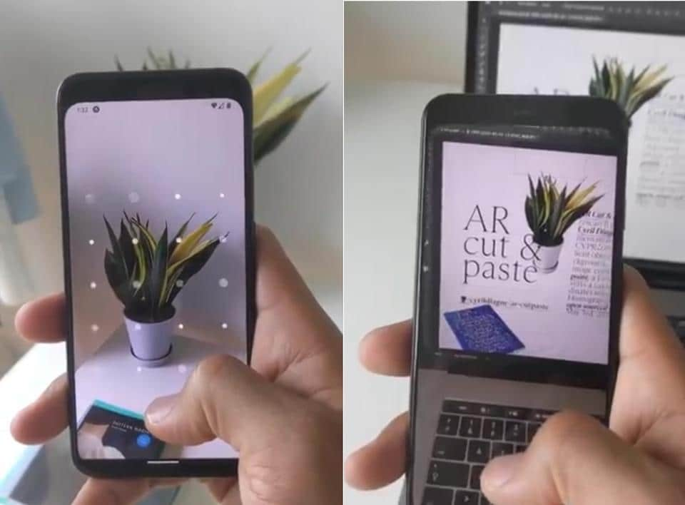 What's interesting is that the video doesn't show copy-pasting a phrase or an image but real-world objects onto the Photoshop app on Mac (MacBook Pro).